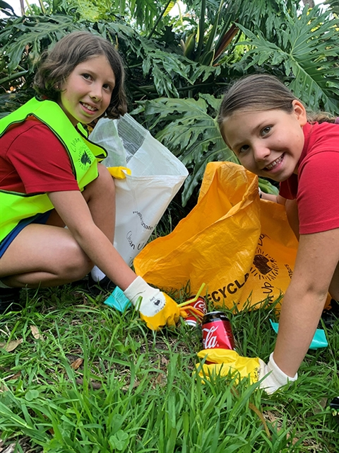 Clean Up Australia Day stock image of kids