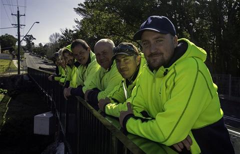 Hyams Creek Bridge construction crew